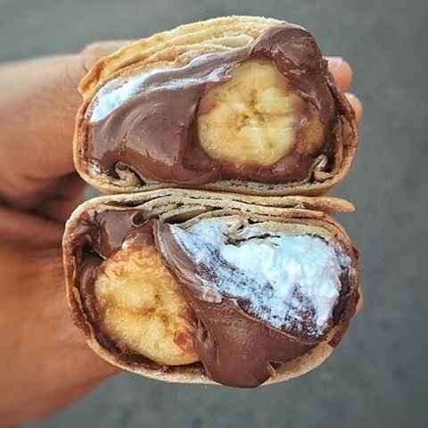 Afternoon Snack: Nutella / Bananas / Cream / Halawa 😍🍴 drooling lebanoneats chocolateporn