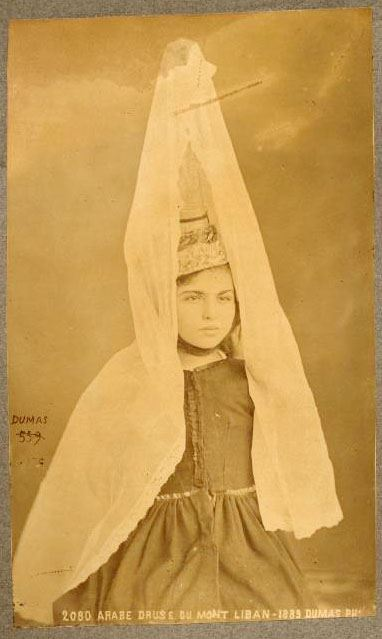 Druze girl wearing the tantour 1889