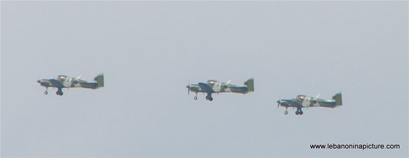 Leb Army Airplanes Flying over Mount Lebanon in Preparation for the Independence Day