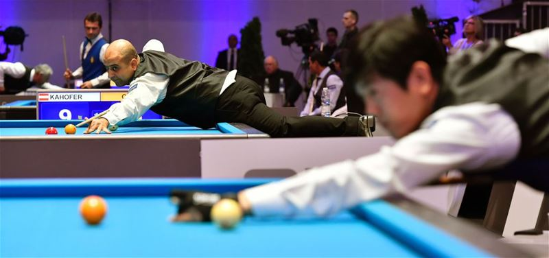 Antoine Gholam competes in the qualification round of the 3-Cushion Billiards World Championship in Bordeaux.