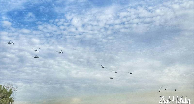 Lebanese Army Helicopters Preparing for the Independence Day
