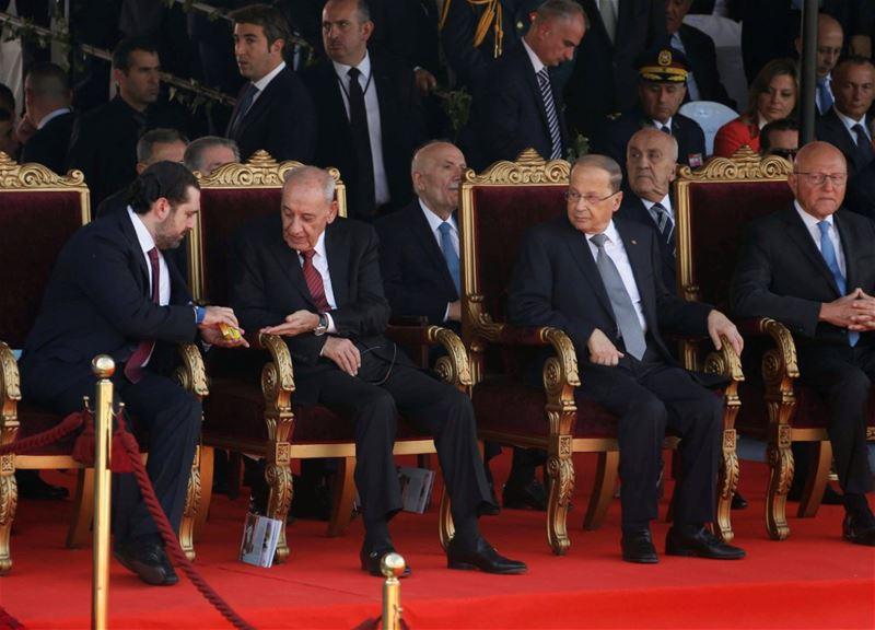PM -designate Saad al-Hariri sharing some candy with parliamentary speaker Nabih Berri