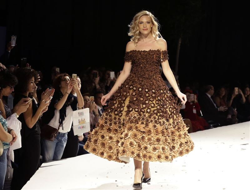 A model displays a chocolate dress at the Salon Du Chocolat 2016 fashion show in Beirut.