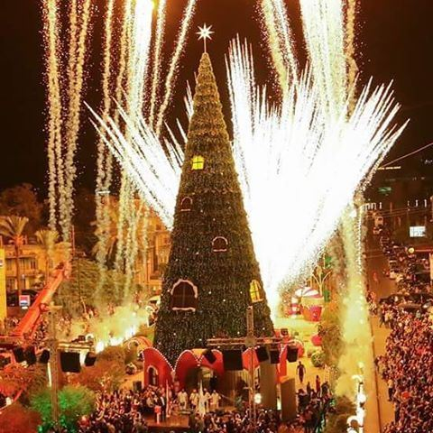 Explosion of Fireworks when Lighting Up the Christmas Tree (Byblos - Jbeil)