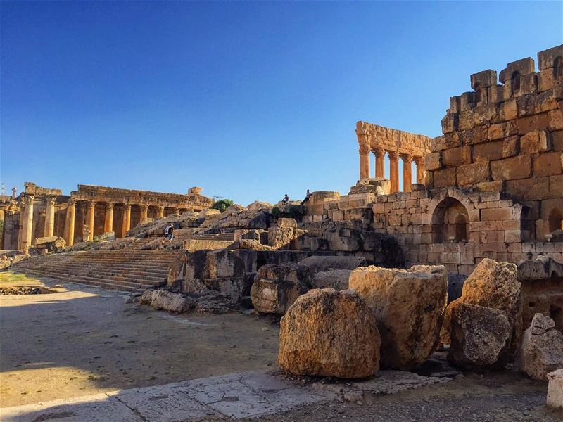 The ancient Roman ruins of Baalbek   (Baalbek , Roman Temple , Lebanon)