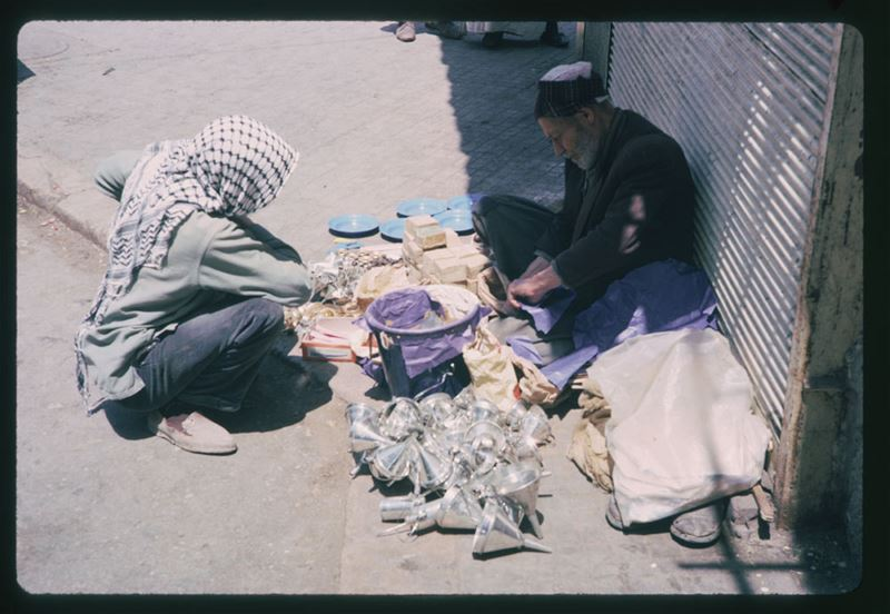 Sidewalk merchant on Parliament Square 1965