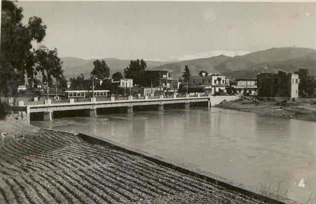 Tram crossing the bridge & heading to Gemmayzeh from Bourj Hammoud  1942