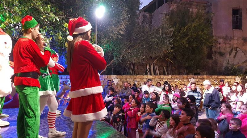 Mama Noel and Elves Playing With Children in Batroun (Old Souk Batroun)