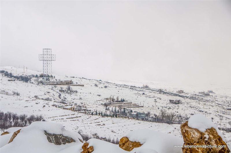 The Biggest Illuminated Cross in the World Dressed for Snow (Qanat Bakich, Lebanon)