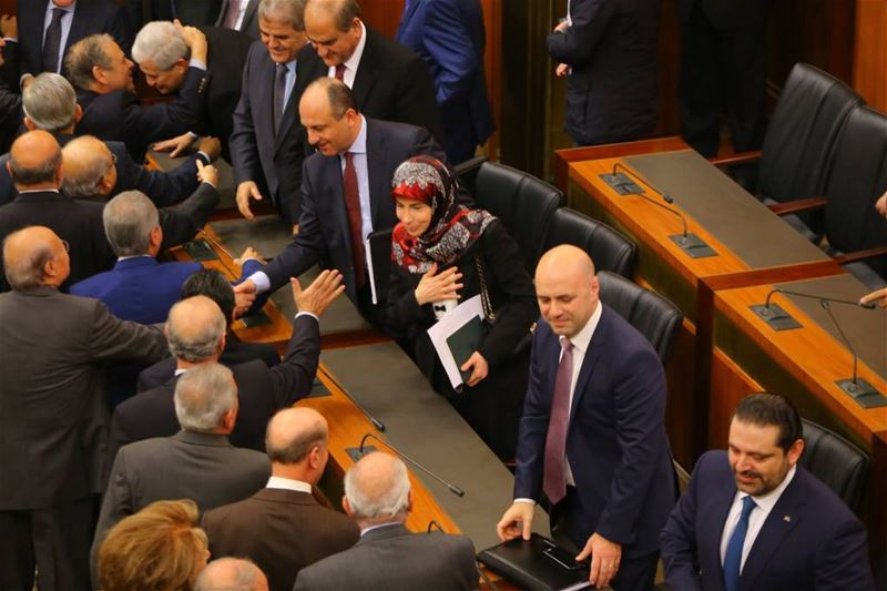 Minister Inaya Ezzidine, receiving congratulations after winning a vote of confidence, in the parliament building, Beirut