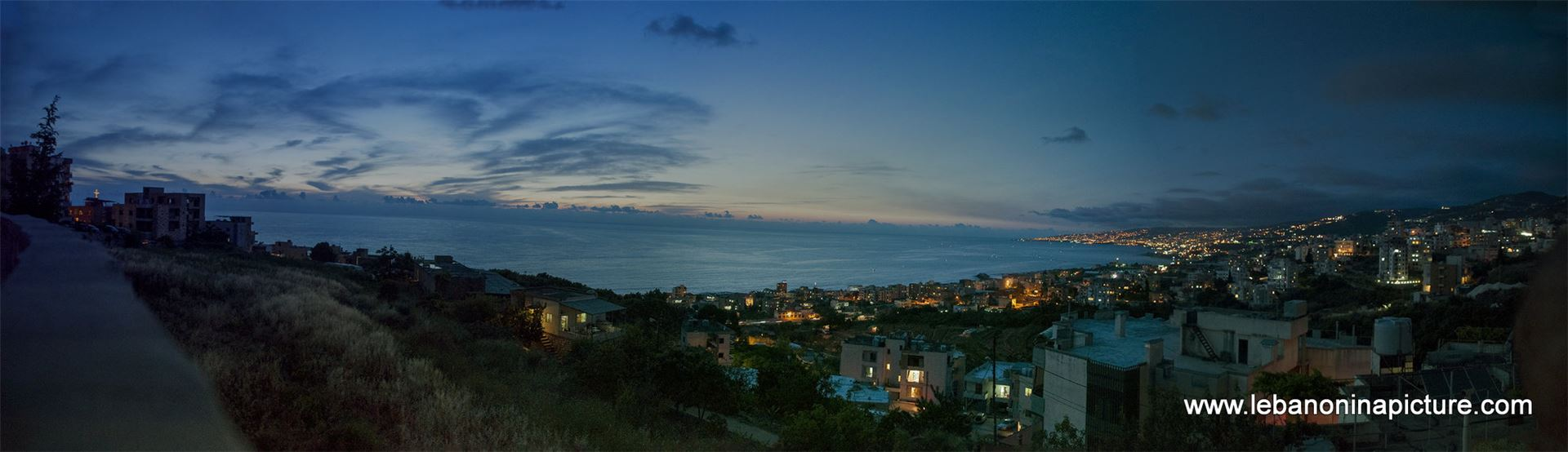 Panoramic View Right After the Sunset Showing the Mediterranean from Tabarja Coast Until Nahr Ibrahim (Safra, Lebanon)