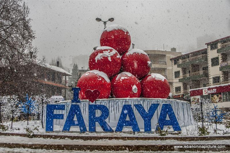Christmas Balls and Decorations Under the Snow (Faraya, Lebanon)