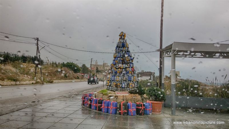 Empty Oil Bottles Creating a Christmas Tree in a Gas Station (Okaybe, Lebanon)