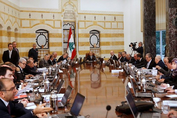 President Michel Aoun heads the first meeting of the new cabinet at the presidential palace in Baabda.