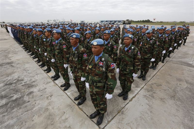 Cambodian soldiers stand in lines during a ceremony before their departure to Lebanon as part of UNIFIL.