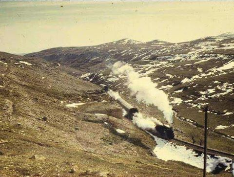Train crossing the snow sheds of Dahr Al Baydar Photo By John Knowles 1972 .