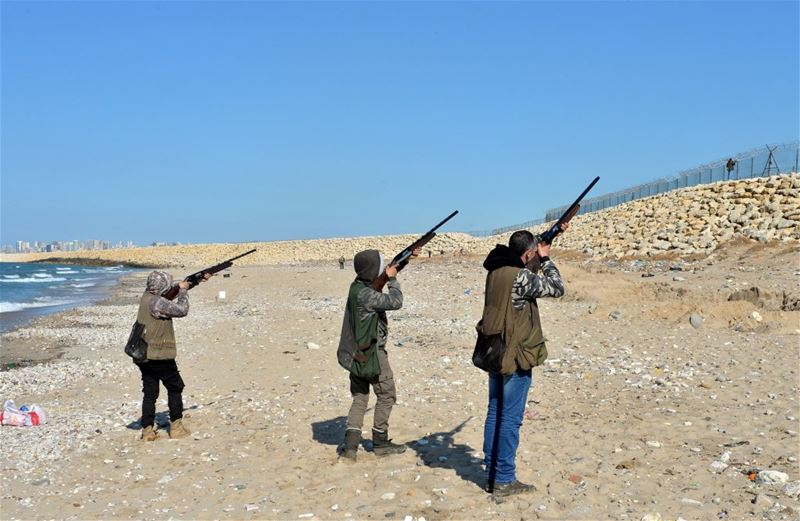 Hunters shooting down seagulls in the landfill at the Costa Brava dump, near Beirut Airport. (WAEL HAMZEH / EPA)