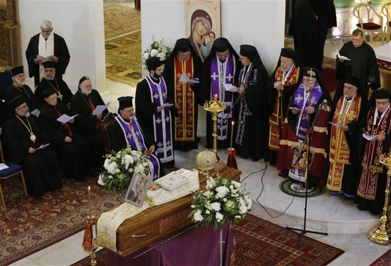 Funeral of former Greek Catholic archbishop of Jerusalem Hilarion Capucci at the Lady of the Annunciation Church in Rabieh. (ANWAR AMRO / AFP)