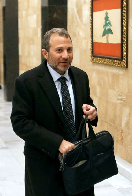 Gebran Bassil arrives to attend the first meeting of the new cabinet at the presidential palace in Baabda