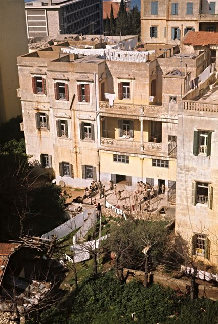 Old Building and School in Ras Beirut, by Romain Swedenburg  1960s