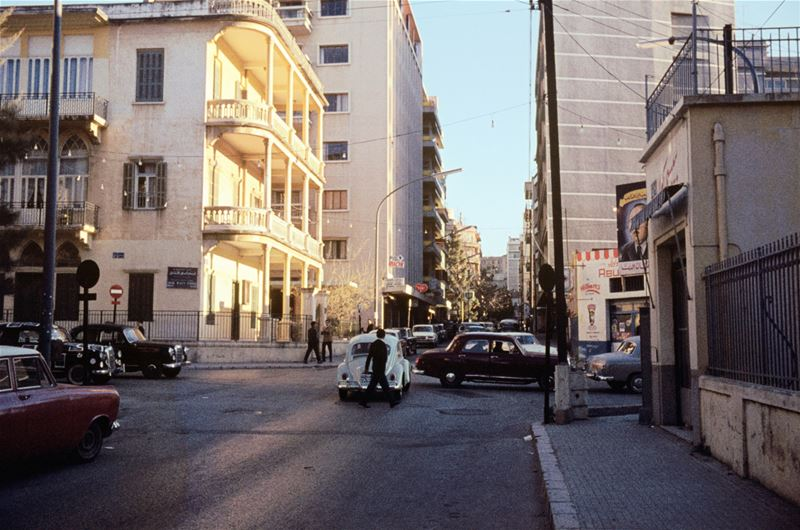 Corner of Hamra and Sadat, by Romain Swedenburg  1960s