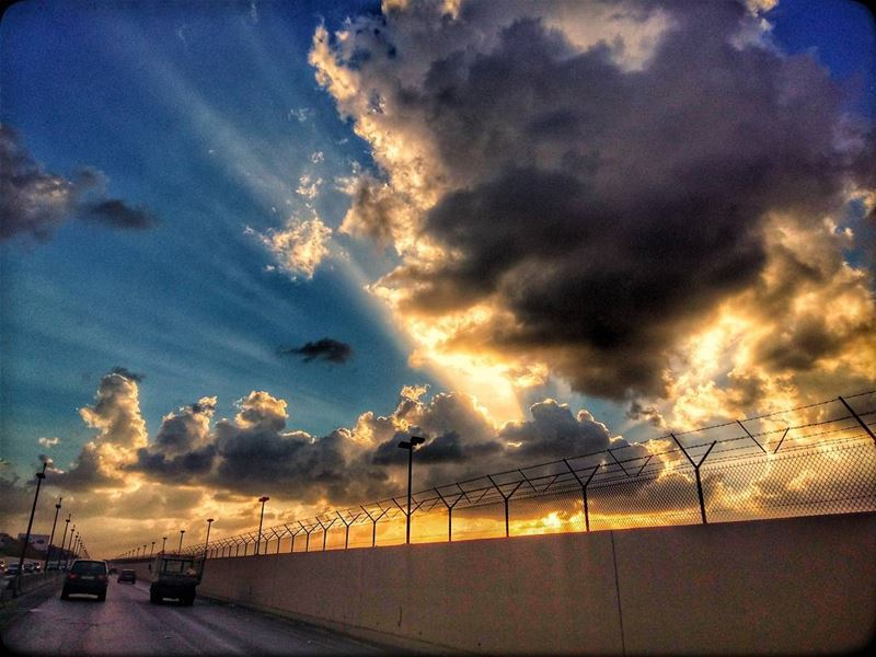 khalde  airporthighway  beirut  lebanon  view  sunset  sunrays  clouds ... (Beirut Airport road)