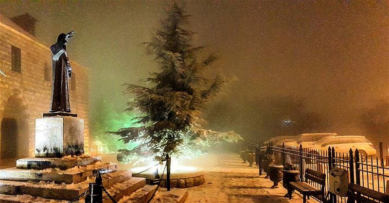 Right now in Annaya SaintCharbel snow winter Lebanon cold mountains...