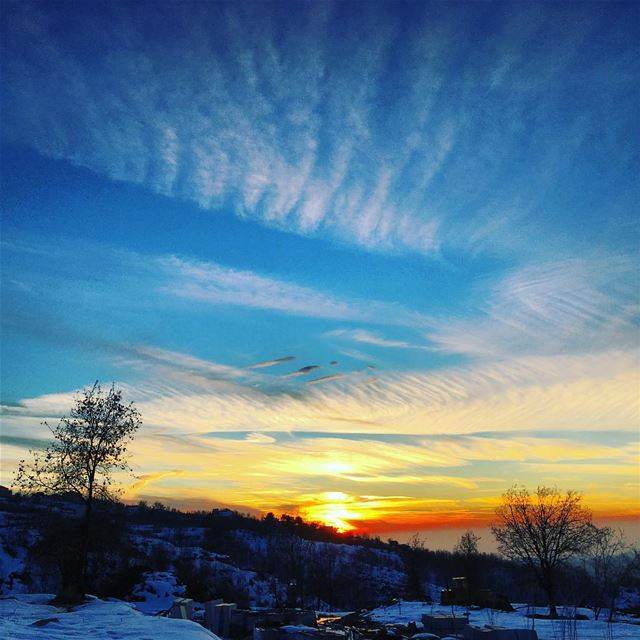 sunset over lebanon mountains snow rainbowcolors instaclouds ...
