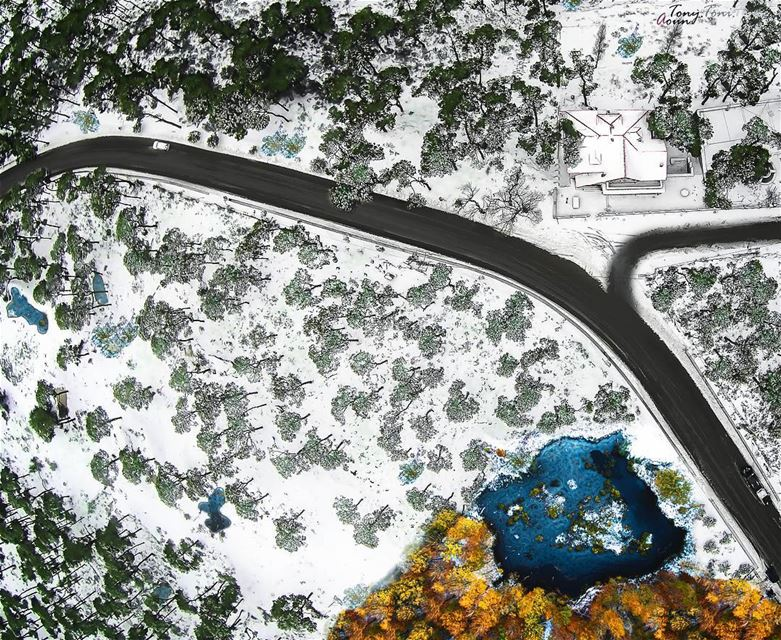Another angle, another view!!! lebanon metn winter snow drones ... (Dhour El Chweir)