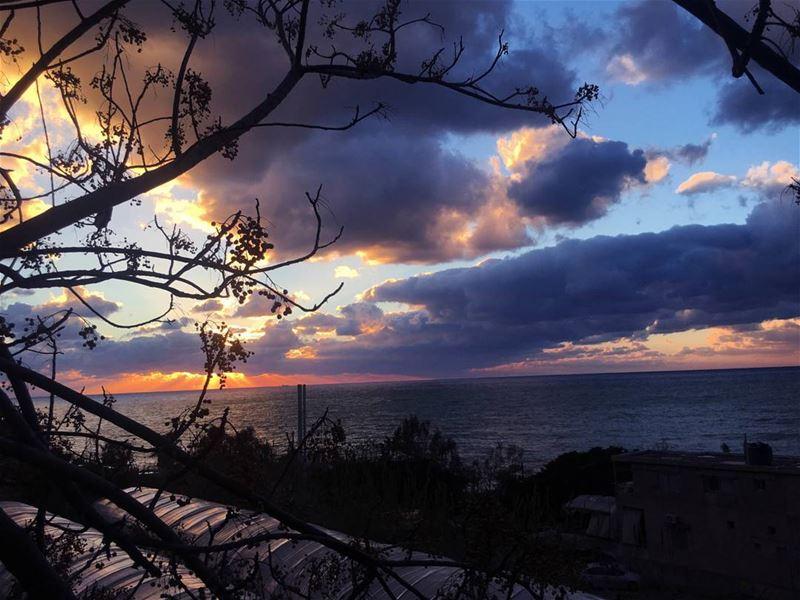 Lebanon sunset orange sky sun blue skylovers instaleb instabeirut...