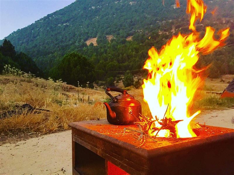 A hot tea for such a cold days!!....... intothewild camfire ... (Mount Lebanon)