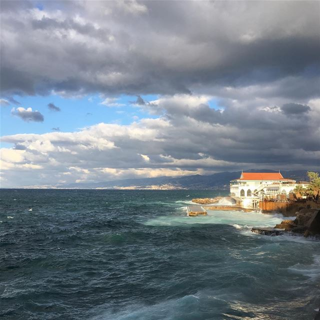 lebanon beirut winter storm clouds sea house sky nature ...