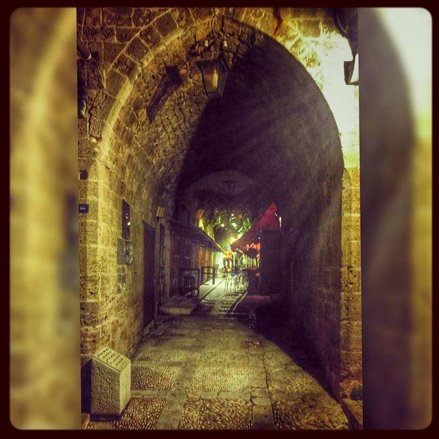 Lebanon ♥ arcade stone heritage latenight beautiful scenery ... (Byblos, Lebanon)