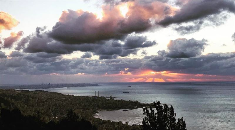 lebanon beirut jounieh keserwan sunset clouds sun sea sky orange blue... (Jounieh)