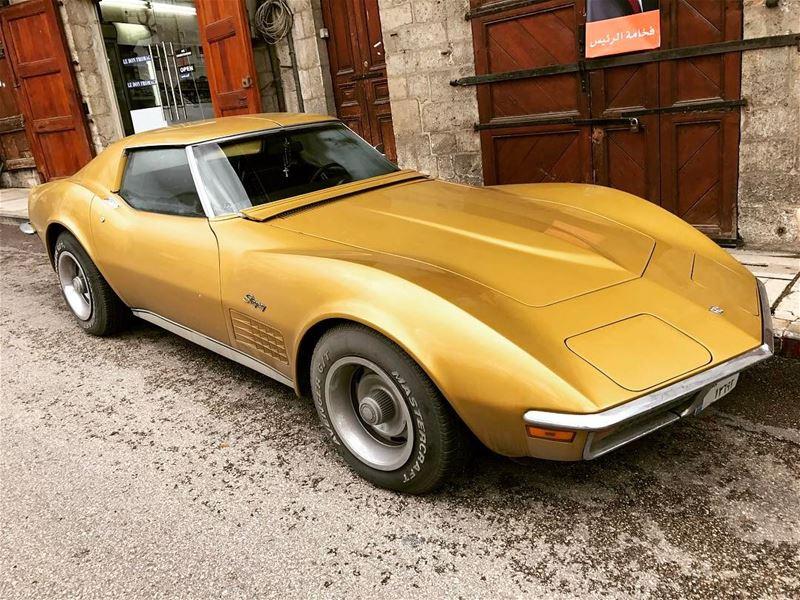 classiccar lebanon lebaneseclassiccars corvette stingray coupe gold... (Ghazir, Mont-Liban, Lebanon)