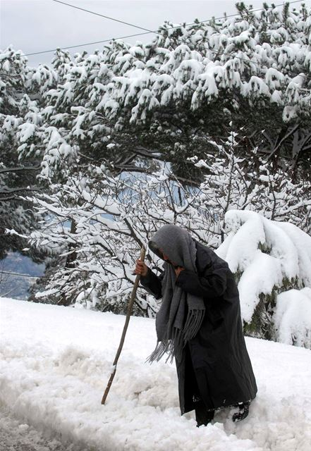 An elderly woman walking in the middle of the snow in Lebanon. (Ali Mohamad)