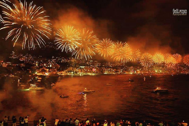 photo fadiaounphotography fireworks beirut lebanon jounieh sea ...