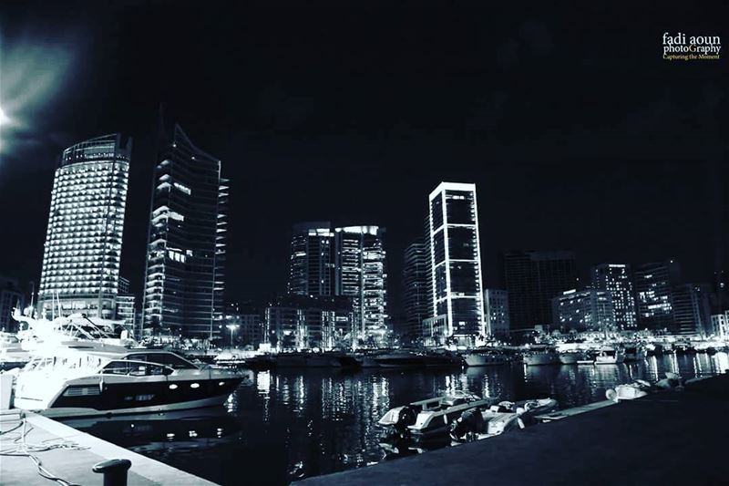 photo fadiaounphotography beirut city night lights monochrome ...