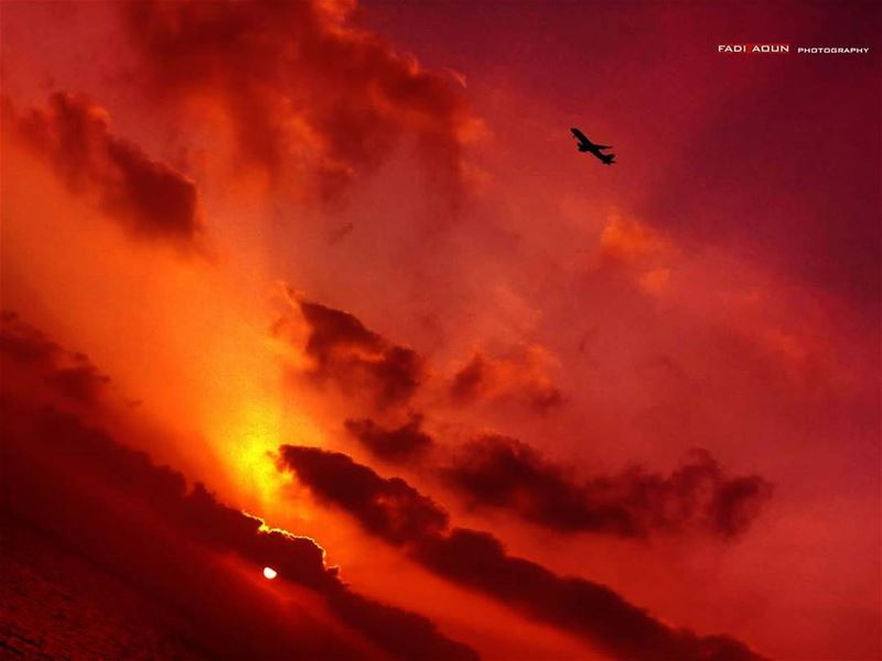 photo sunset beirut sky lebanon beirut airplane sea clouds ...
