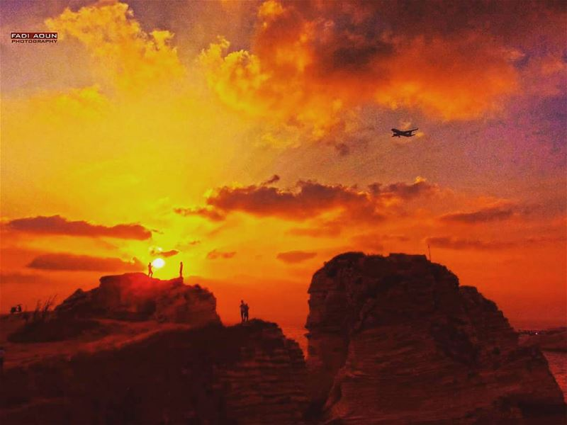 photo fadiaoun @faaoun sunset rocks beirut lebanon sky airplane ...