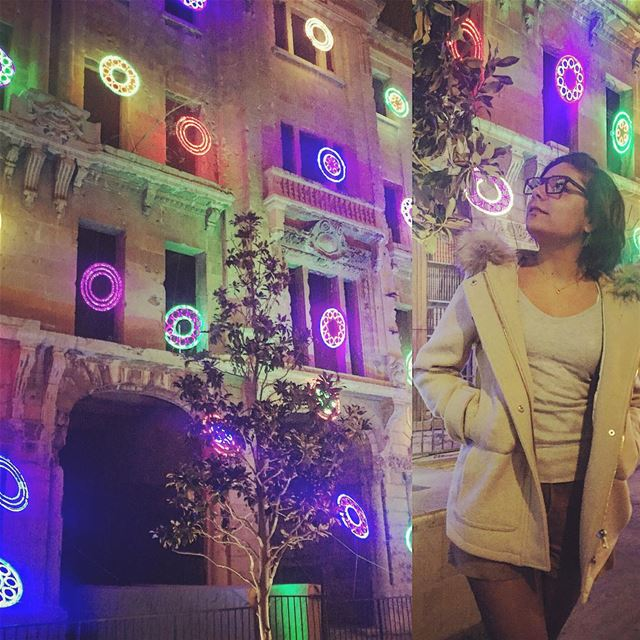 City lights Beirut at night 🌉🎀✨ christmas christmasdecorations ... (Beirut Souks)
