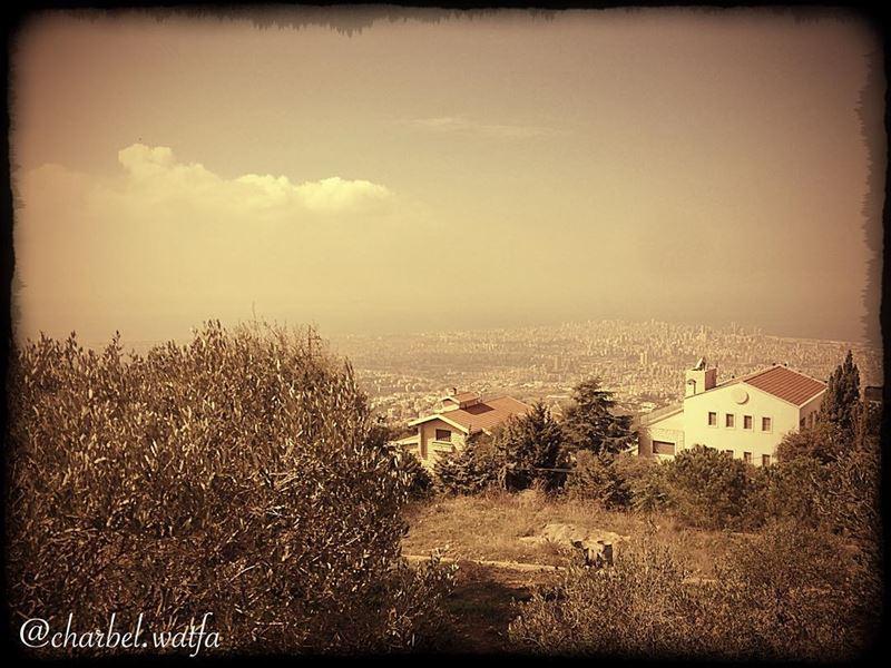 View of Beirut Lebanon from beitmeri capital olivetree houseofbrick... (Beit Meri, Mont-Liban, Lebanon)