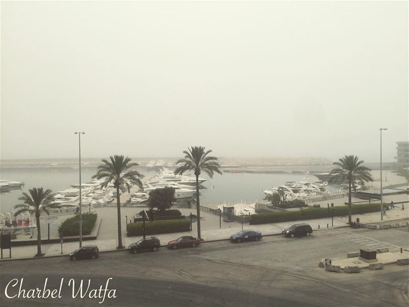 Unbelievable and  crazy  weather  today over  Lebanon dusty  gray ...