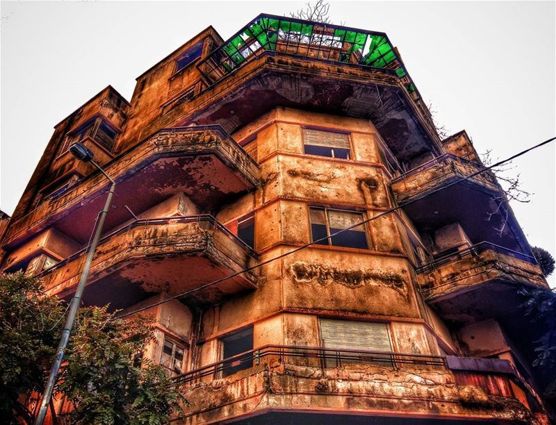 hamra beirut lebanon abondoned old building broken glass ... (Hamra Street, Beirut, Lebanon)
