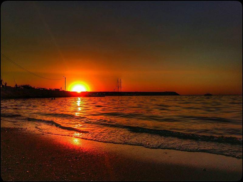 sunset shore sea amber sand beach seaside mediterranean skyline ... (Marina Dbayeh)