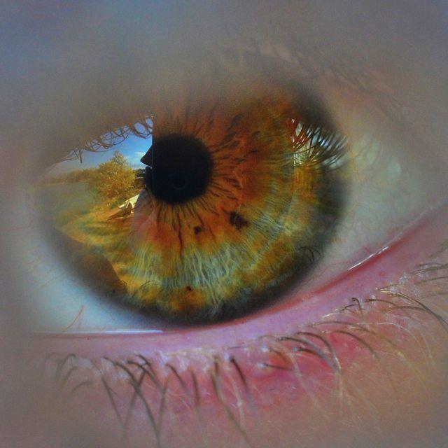 Central Heterochromia Eye Details Green Brown CloseUp shot Camera ...