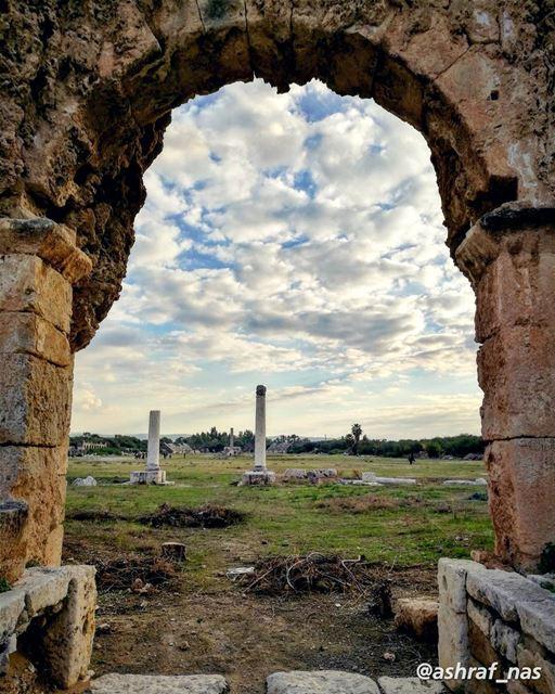 هنا تحت كل ترابة مفاتن مجدهنا الله شرع بابه وضمك ضمة وجدهنا جبل، لا الأسا (Roman ruins in Tyre)
