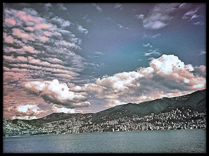 Come fly with me, let's fly, let's fly away.. sky clouds sea coast ... (Jounieh Bay)