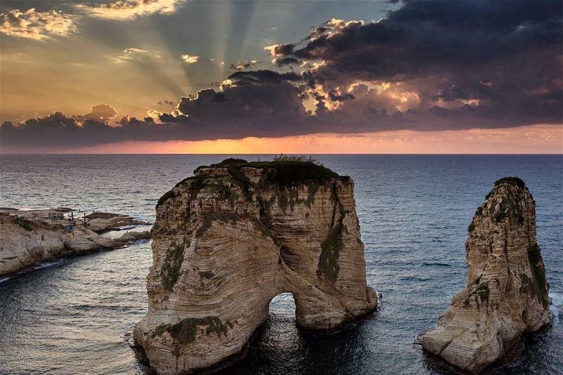 rawche beirut lebanon sunset sea pigeon ... (Rawsheh, Beirut, Lebanon)