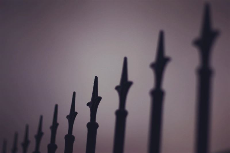 perspective repetition black steel fence winter cloudy cold dark ... (Dalhoun)